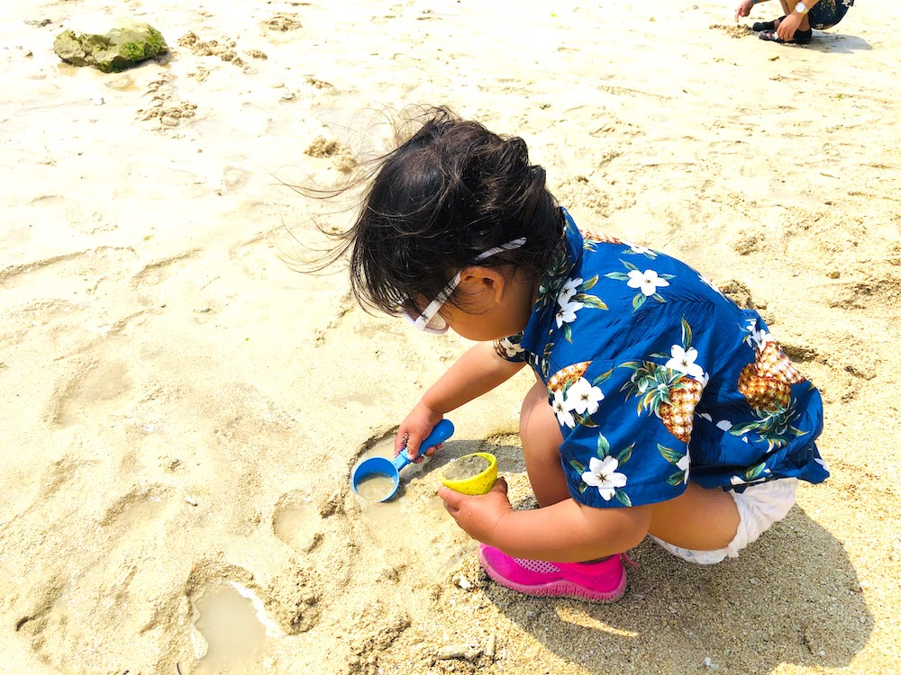 北谷 サンセットビーチ 子供 赤ちゃん 海遊び 砂遊び