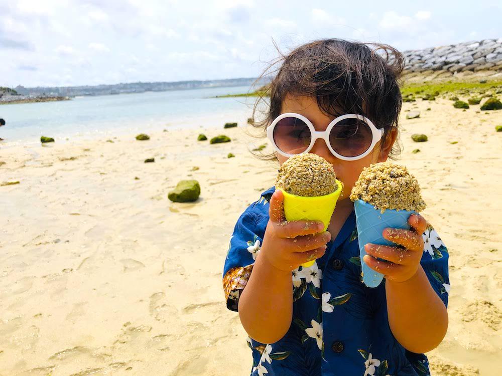 北谷 沖縄 海遊び サンセットビーチ 子供 赤ちゃん