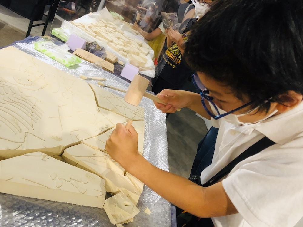 DinoScience 恐竜科学博 ソニー ララミディア大陸 恐竜展 みなとみらい パシフィコ横浜 トリケラトプス ワークショップ 化石発掘 化石 化石発掘体験